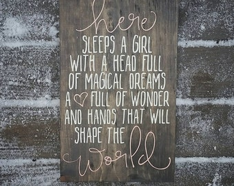 Little Girl Sign, Nursery Sign, Here sleeps a girl with magical dreams, girls room decor