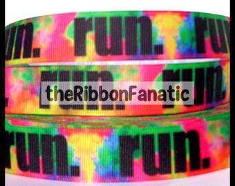 """5 yds 7/8"""" Powder Explosion Run Running Fitness Grosgrain Ribbon"""