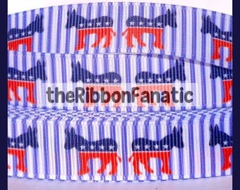 "5 yds 5/8""  Democrat Donkey Election Red White Blue Stripes Patriotic Grosgrain Ribbon"