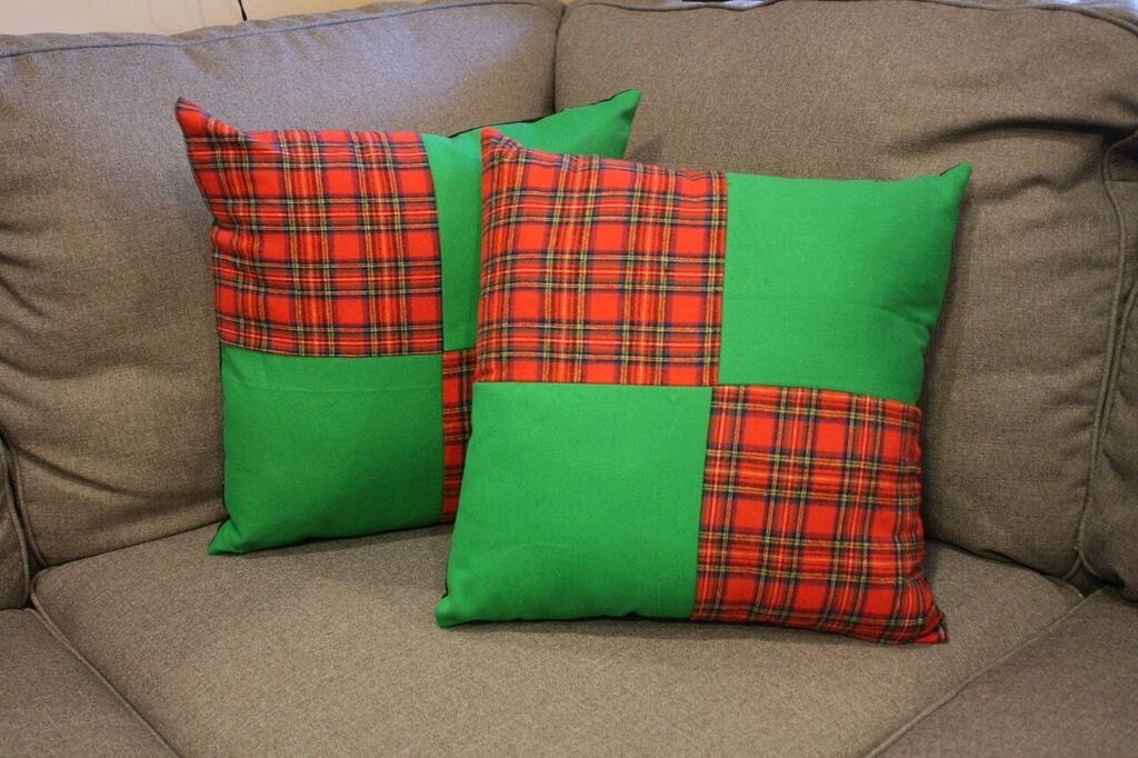 Decorative Plaid Pillows : Green & Red Plaid Decorative Pillow Set 2 by EricaLeeCreatives