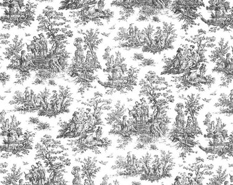 Indoor / Outdoor Weather Resistant Fabric By The Yard - Premier Prints Jamestown Toile Black White