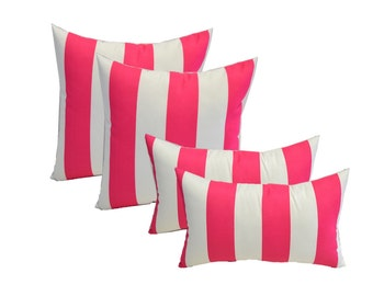 "SET OF 4 - Indoor / Outdoor 20"" Square & Rectangle / Lumbar Pillows - Preppy Pink and White Stripe"