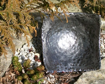 Hammered Square Steel Bowl * Hand Forged Metal Bowl Blacksmith Made Hammered Dish Gift for Men Steel Gifts Personalized Gift for Him