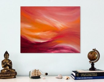 Magenta wall art Abstract oil painting on canvas Orange and pink abstract art Original abstract painting Pink wall art white red orange