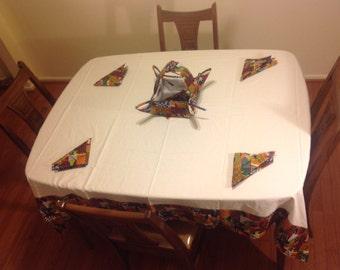 Africantablecloth set with basket & napkins