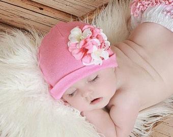 Cotton Geranium Hat - Baby Girl Cotton Hat - Baby Hat - Flower Hat - Baby - Flower Beanie - Newborn Hat - Newborn Photo Prop - Baby Beanie