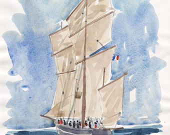 Ship in Morbihan Bretagne original watercolor painting Brittany french art french originla painting landscape painting original french art