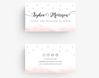Premade Business Cards - Blush Pink, Polkadots, Watercolor