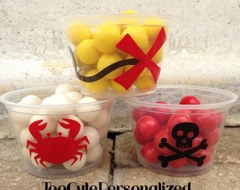 25 Plastic Pirate Snack Cups-4 oz.