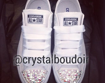 Custom Personalised Crystal Converse Bling Wedding Bride Bridesmaids Prom Shoes Chucks
