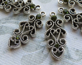Silver Plate with Olive Green Swarovski Crystal Charms, 4 pcs - Item 3359
