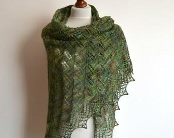 Lace shawl - hand knitted green brown shawl - triangular - wool - handmade