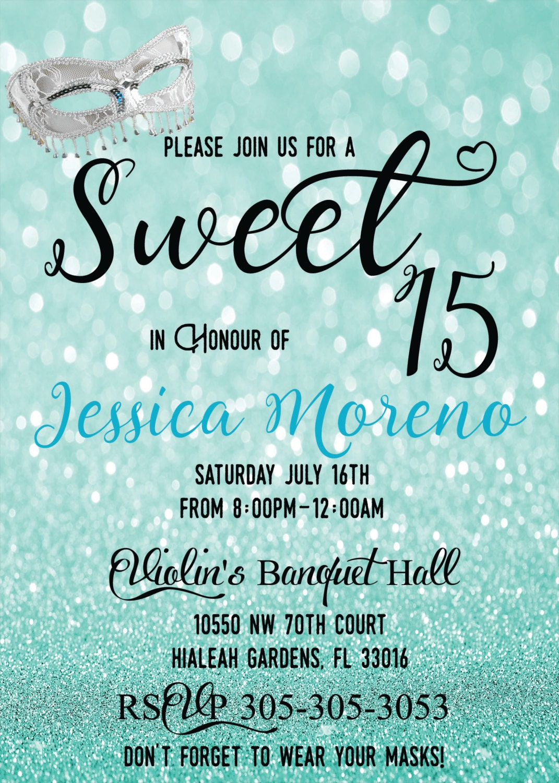 sweet 15 sweet 16 quinces invitation quinceanera invite – Mask Invitations Masquerade Party