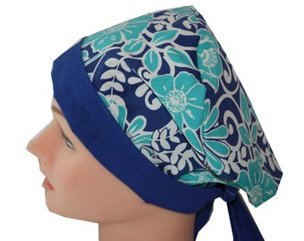 Scrub Hat Surgical Scrub Cap Chemo Chef OR Nurse Doctor Vet Hat Flirty Front Fold Pixie Blues Floral Royal Teal White 2nd Item Ships FREE