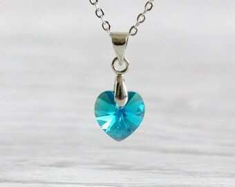 Blue Crystal Heart Necklace, Swarovski Crystal Pendant, Heart Necklace,Turquoise Heart Pendant,Heart Pendant, Heart Jewelry, Crystal Heart