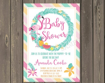 Flamingo Baby Shower Invitation, Tropical Floral Baby Shower Invitation, Pink Flamingo Shower Invitation, luau Shower, Printable or Printed