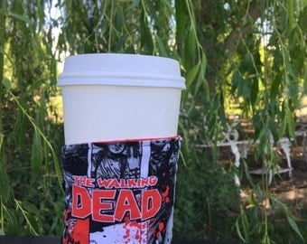 Walking Dead Coffee Sleeve,  Walking Dead Coffee Cozies, Tv Coffee Gift,  Zombie Coffee Cozy, Reusable Coffee Sleeve, Coffee Gift, Tea Cozy