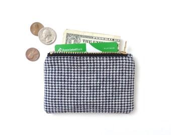 Houndstooth Wallet Coin Purse Zipper Pouch Navy Blue