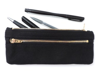 Pencil Case Double Zipper Pencil Pouch Black Canvas