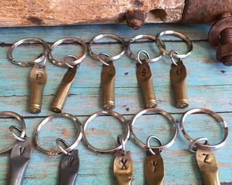 Handmade .223 Brass Bullet Casing Initial Keychains