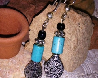 Dangle earrings - Turquoise Tubes with Silver Findings