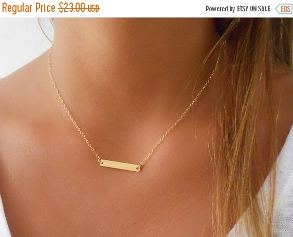 Vacation Mode Sale Delicate Gold Bar Necklace By Annikabella