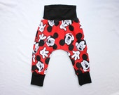 Baby Harem Pants 0 to 24 mos 2T to 6 Mickey Mouse Outfit Red Mickey Mouse Harem Pants Toddler Disneyland Outfit Kids Mickey Mouse Pants