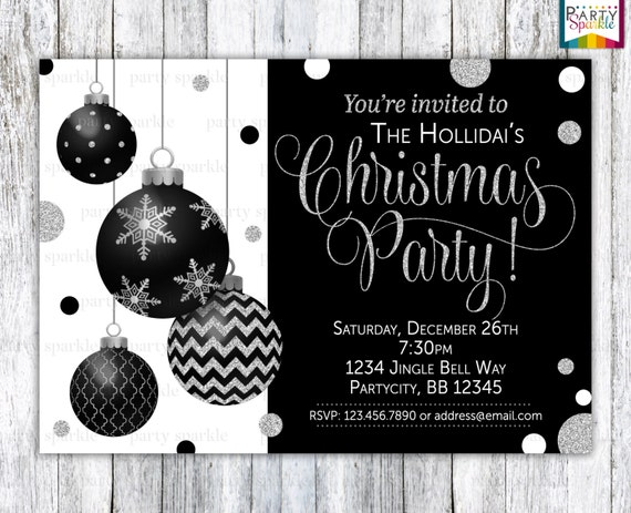 Black and white ornament christmas invitation