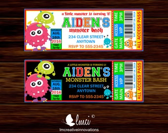 Monster Bash Birthday Ticket Invitation, Printable Monster Bash Invitation - Digital File