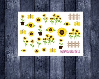 Sunny Sunflower Clip art Set for ec life planner, happy planner, filofax, kikki k, or any planner or scrapbooking
