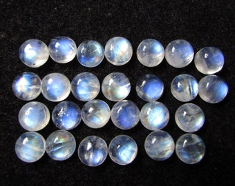 8mm Rainbow Moonstone 26pcs 62cts round cabochon