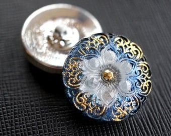 Hand Made Art Czech Glass Button with Flower, size 10, 22.5mm, 1pc ( BUT156/10)