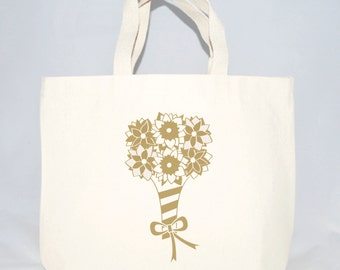 Bouquet of Flowers totes for wedding guest welcome bags, Hotel welcome bags, Tote bags, Wedding favor tote bags