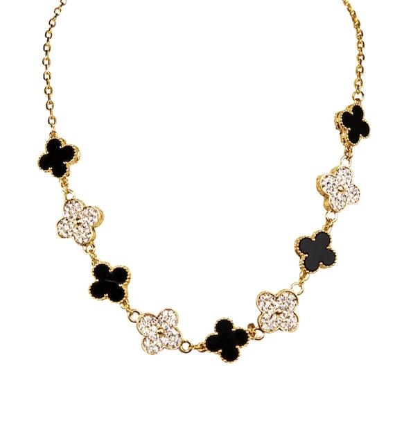 choker necklace clover necklace black enamel necklace