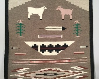 Vintage Navajo Hand Woven Story Rug Featuring Goat and Sheep Rare