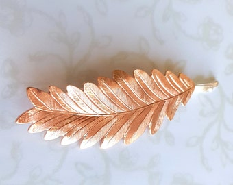 Rose Gold Lg. Leaf/Feather Hair Pin, Bobby Pin, Pink Gold, Bridesmaid Gift, Garden Wedding Hair Clip, Vintage Bridal, Woodland