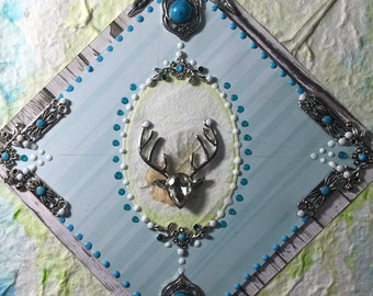 boho journal with deer and turquoise.