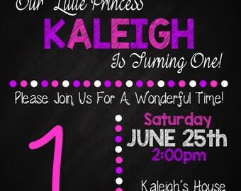 Birthday Girl Chalkboard Invitation
