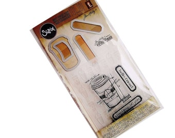 Tim Holtz Stamps Embossing Folder and Dies Set - COFFEE TIME 561219 Sizzix dies cc02