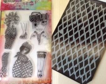Dylusions by Dyan Reaveley - BLACK DIAMONDS - DYZ48336 Stamp & Stencil set cc02 SS024