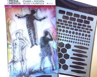 Ranger Dina Wakley Media - ESSENTIAL SILHOUETTES Stamp & Stencil set - NEW 1.cc02