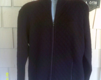 Woman's Vintage Wool Zip Cardigan, size Lg., Made in Italy by Talbots, Womans Black Cardigan,
