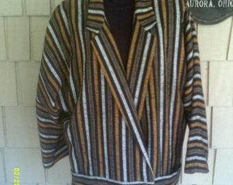 Woman's Vintage Adolfo Atelier Jacket, size 12 to 14, Adolfo Blazer 12, Casual Blazer 14, Black Striped Jacket 14, Designer Blazer 12