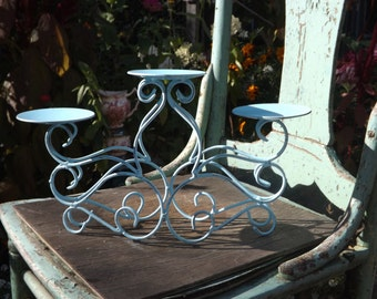 Vintage Upcycled Aqua Blue Scrolled Metal Three Candle Holder/Shabby Chic Distressed/Ornate Home Decor