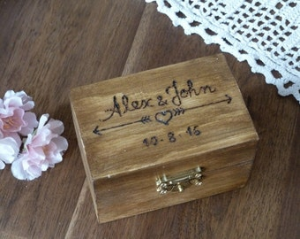 Wedding Ring Box, Rustic Ring Bearer Box with Arrows and Heart Personalized Ring Pillow Ring Box Custom Engraved Wooden Ring Box Ring Holder