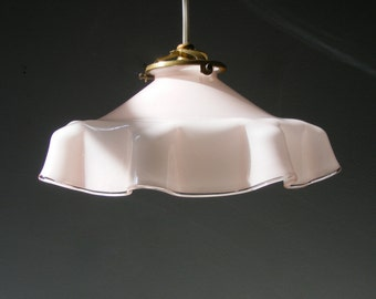Beautiful Antique  pale pink Opaline Glass Ceiling Light Lamp,from the 1930s