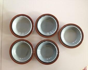 5 Very vintage ARABIA FINLAND soup plates Meri / Blue Brown/ Ulla Procope /late 60s