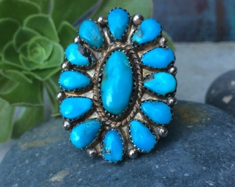 Vintage old pawn Navajo sterling and turquoise cluster ring size 9.5