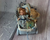 Dolls house Pull Along Cart with Micro Doll