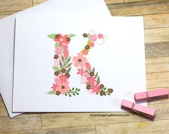 Monogram Stationery - Modern Floral Monogram Note Cards - Personalized Monogram Flat Cards - Custom Monogram Cards - Pink Floral Cards DM175